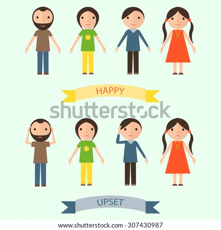 Set of characters with happy and upset emotions. Flat picture.