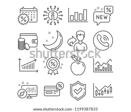 Set of Chart, Cashback and Calendar discounts icons. Infochart, Report diagram and New signs. Financial diagram, Payment method and Discount symbols. Presentation chart, Non-cash payment, Shopping
