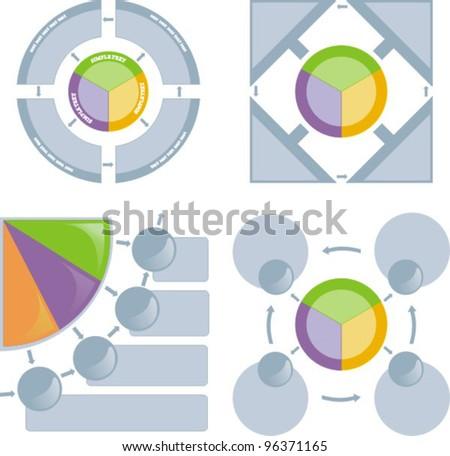 Set of chart flat