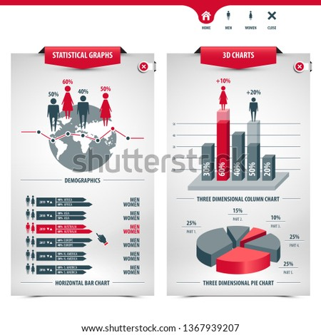 set of charts and demographics containing statistical graphs, info graphic elements, icons, 3d charts, column chart, pie chart, horizontal bar chart, line graph, globe shape, eps10 vector illustration