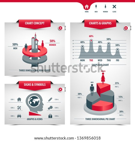 set of charts and statistics containing graphs, signs and symbols, info graphic elements, icons, 3d charts, shape bar chart, pie chart, ring chart, line graph, globe shape, eps10 vector illustration