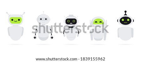Set of Chat bot in flat style. Chat messenger icon. Support or service icon. Support service bot. Online consultation. Customer service, support, assistant.