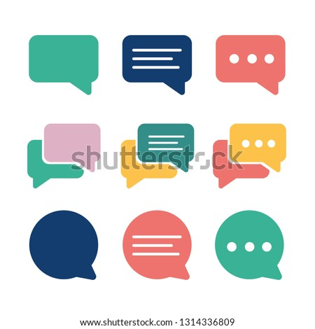 Set of Chat Bubble Icons.Line chat icons for flat design. Talk baloon icons isolated. Chat speech bubble icons.color cute and lovely
