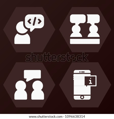 Set of 4 chat filled icons such as social, discussion, smartphone