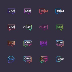 set of chat lettering with bubble logo. talk, speak, logo template. Chat vector logotype design template.
