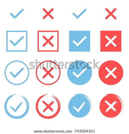 Set of che?k marks. Blue tick and red cross. YES or NO accept and decline symbol. Buttons for vote, election choice. Empty, square frame, circle and brush. Check mark OK and X icon. Vector