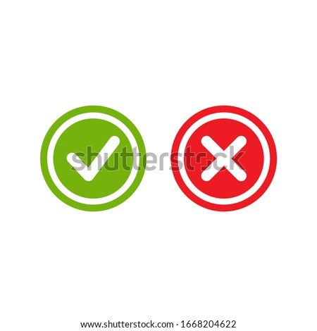 Set of check mark icons. green rounded tick in circle and red cross in circle. Flat cartoon style. Vector illustration.  Flat yes and no buttons.  Photo stock ©