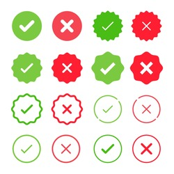 Set of Check Mark Icons. Tick and Cross Vector Signs. Yes and No labels. Approved and Rejected emblems.