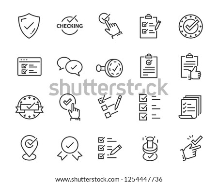 set of checkmark vector line icons, contains such as check, document and more 商業照片 ©