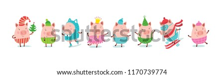 Set of cheerful and cute piglets for decoration of holiday prints. Christmas pigs.
