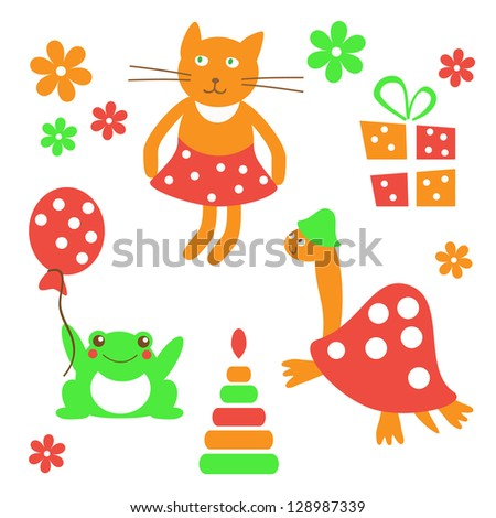 set of cheerful animals (vector) #128987339
