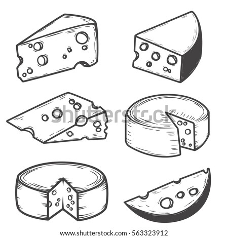Set of cheese icons isolated on white background. Design elements for restaurant menu, poster. Vector illustration.