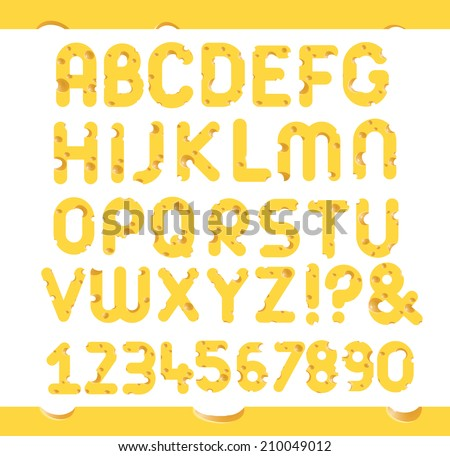 Set of cheese letters.  Vector design