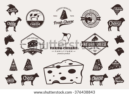 Set of cheese logo, icons and design elements