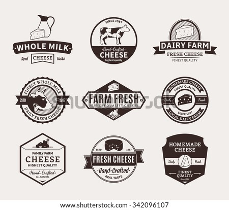 Set of cheese logo templates for groceries, agriculture stores, packaging and advertising