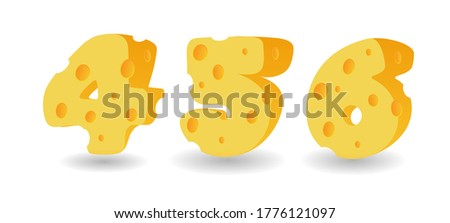 Set of cheese numbers. Vector illustration