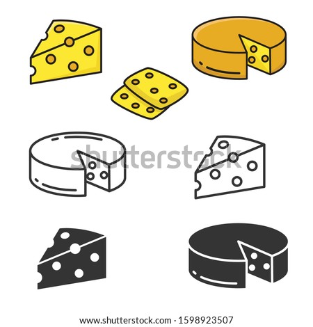 Set of cheese vector illustration isolated on white background. Cheese icons collection with different style; black and white, lineal color, lineal  Foto stock ©