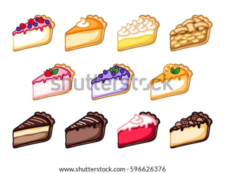 Set of cheesecakes and pies, colorful vector illustration, sweet clipart, pastry clipart.