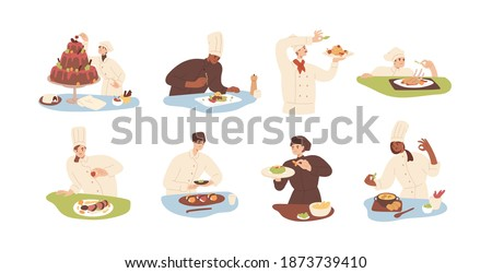Set of chef cooking food and adding finishing touch to dishes. Collection of cooks decorating salads, meat, soup, sushi and cake. Colorful flat vector illustration isolated on white background