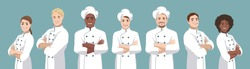 Set of chefs. European and African smiling men and women stand half turned and facing camera, have crossed arms and wearing chef uniform. Vector illustration