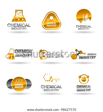 Set of chemical industry icons (Illustration of chemistry icons).
