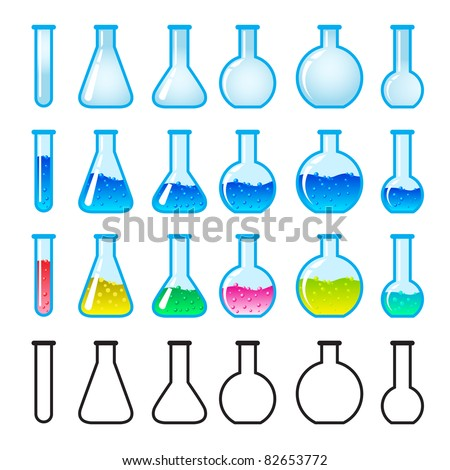 Set of Chemical Science Equipment. Illustration on white background