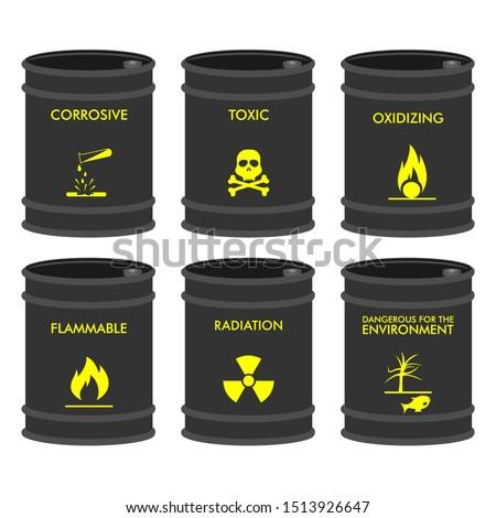 Set of Chemical vector barrels. Chemical storage
