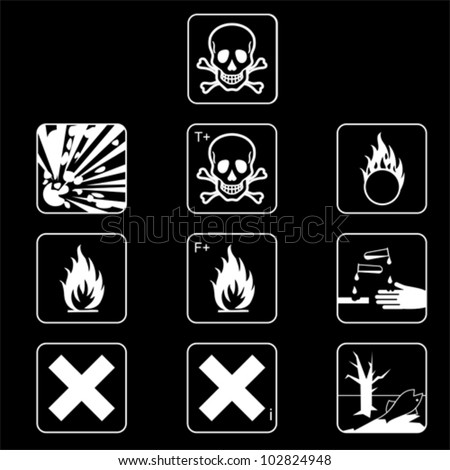 Set of chemicals hazard symbols