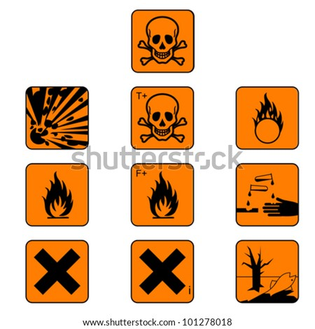 Set of chemicals hazard symbols isolated on white, vector