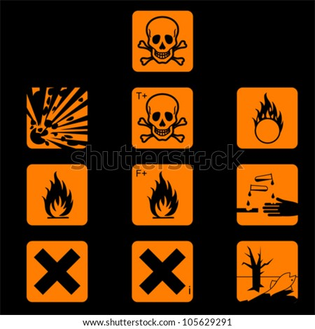 Set of chemicals hazard symbols vector