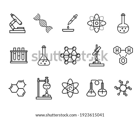 Set of chemistry flat icons. Pictogram for web. Line stroke. Sience symbols isolated on white background. Vector eps10 Zdjęcia stock ©