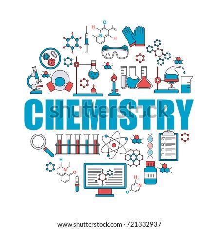 Set Of Chemistry Icons. Chemistry Background