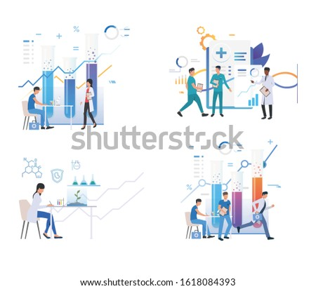 Set of chemists analyzing material in test tubes. Flat vector illustrations of doctors writing medical report. Biology, laboratory analyses concept for banner, website design or landing web page