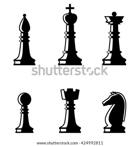 set of chess figures flat