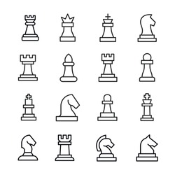 Set of chess related vector line icons. Premium linear symbols pack. Vector illustration isolated on a white background. Web symbols for web sites and mobile app. Trendy design.