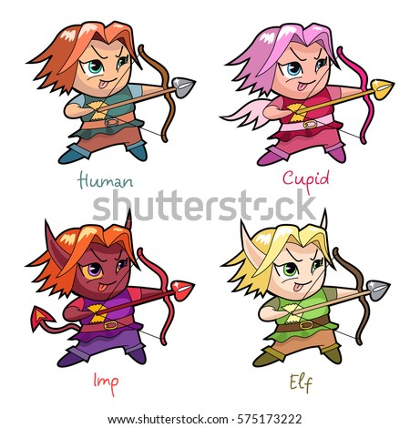 set of chibi boy characters