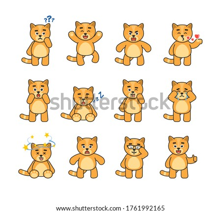 set of chibi cat characters