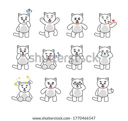 set of chibi cat mascots