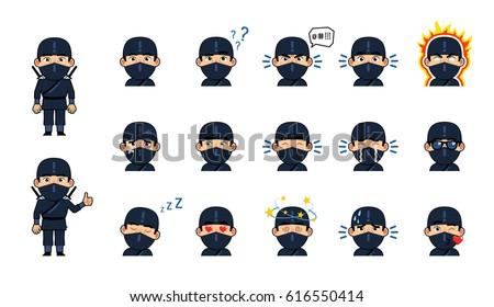 set of chibi ninja emoticons