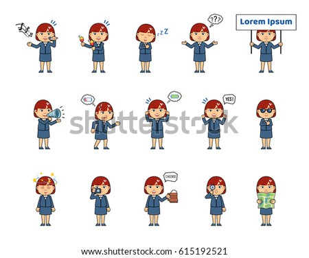 Set of chibi woman characters showing diverse actions, emotions. Kawaii businesswoman holding loudspeaker, map, placard, singing, sleeping, tired and doing other actions. Simple vector illustration #615192521