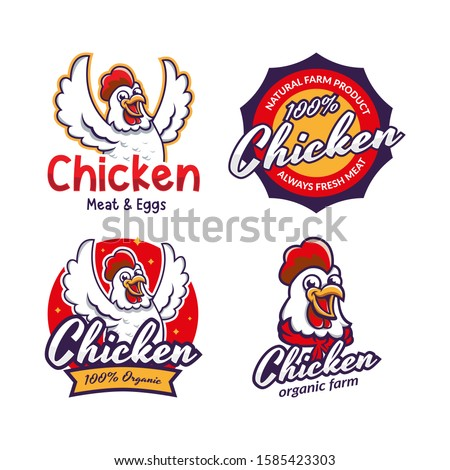 Set of chicken label for business template illustration. Chicken mascot logo vector, Illustration of chicken. Chicken restaurant logo template