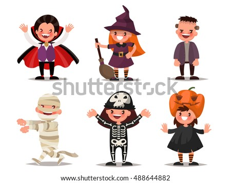 Set of children characters for Halloween. Costumes Dracula, witches, Frankenstein's monster, mummy, skeleton, pumpkin. Vector illustration of a flat design
