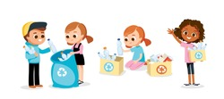 Set of children doing waste sorting. Environmental protection. Eco friendly.