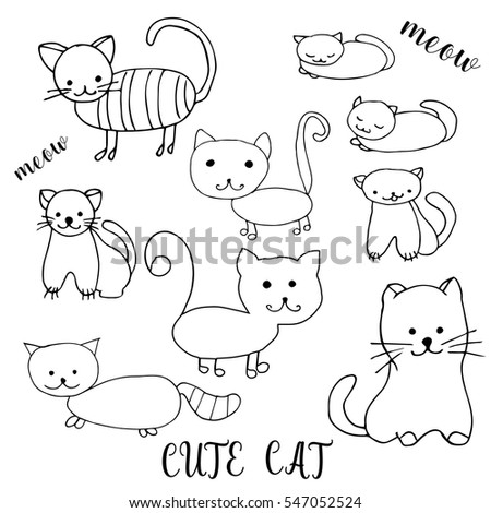 Set Of Children Drawing A Cute Cats The Template For Painting Hand Drawn
