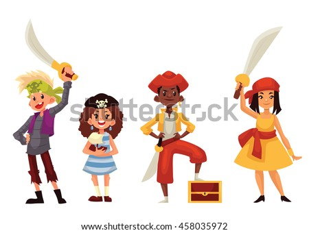 Set of children dressed as pirates, cartoon style vector illustration isolated on white background. Boys girls in pirate fancy dresses with swords and treasure chest, kids on Halloween birthday party Stock photo ©