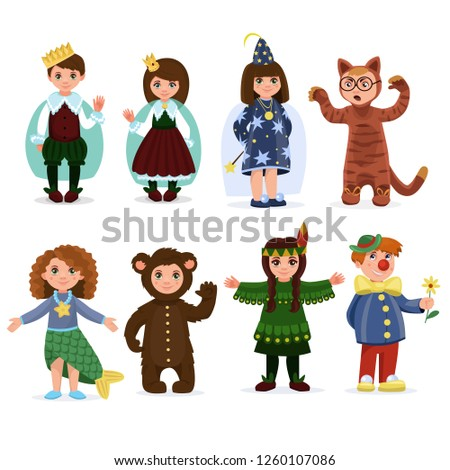 Set of Children dressed in carnival costumes of a Wizard,  Clown, Fairy,  Mermaid and a Bear. Boy and girl. New Year costume, masquerade, party.  Vector illustration.