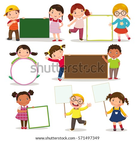 Set of children holding blank signs