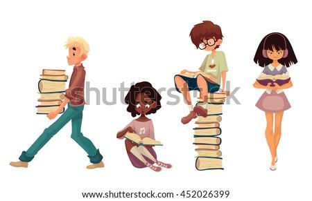 set of children reading books