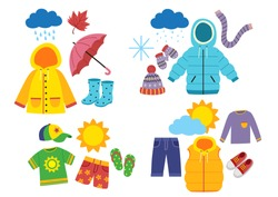 set of children's season clothes - vector illustration, eps
