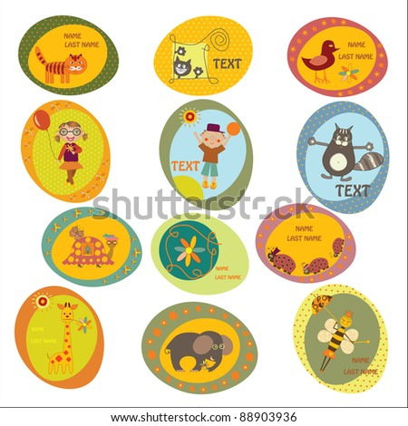set of children's stickers